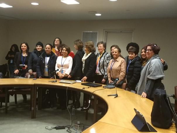 Ausschnitt der Teilnehmerinnen an einem Panel in der UNO 2018